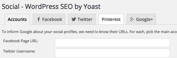 Pinterest option on seo yoast plugin