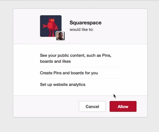 allow squarespace to connect to pinterest