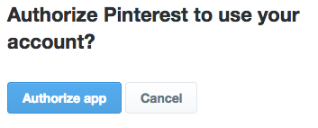 authorise twitter and pinterest