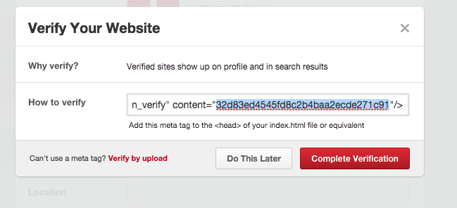 complete verification on pinterest