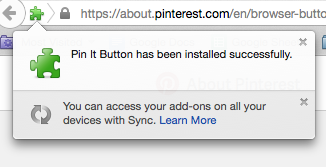 confirmation of pin it button install firefox
