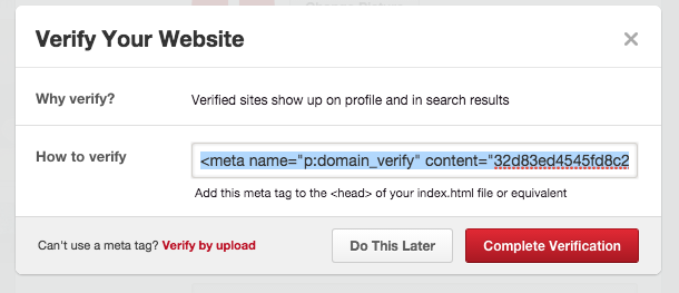 meta tag for verification on pinterest