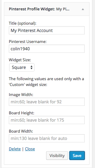 pinterest profile widget settings wordpress plugin
