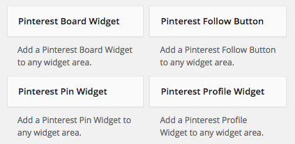 pinterest widgets available for your sidebar on wordpress