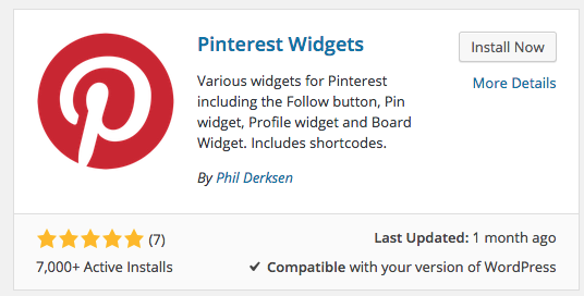 pinterest widgets plugin on wordpress