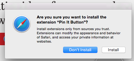 safari install pin it button confirm box