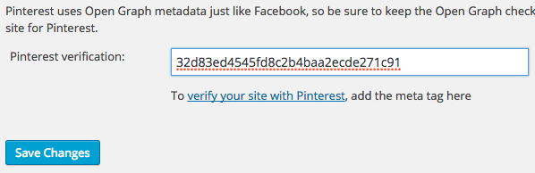 verify pinterest url in seo yoast plugin