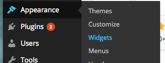 widgets option under appearance on wordpress