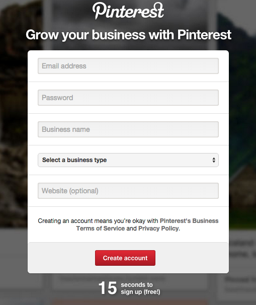 create pinterest business account fill out this form