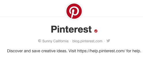 verified account on pinterest rather than verified website