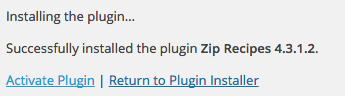 Activate Zip Recipes Plugin