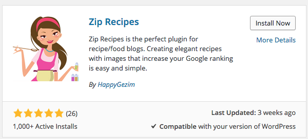 Zip Recipes WordPress Plugin Install Screen