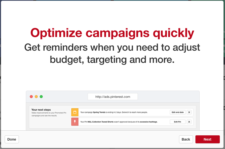 Optimise your pinterest promoted pins camapigns with reminders