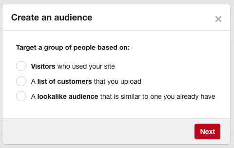 Creating an audience - picking from 3 options on Pinterest Promoted Pins