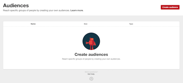 Create an audience in Promoted Pins on Pinterest