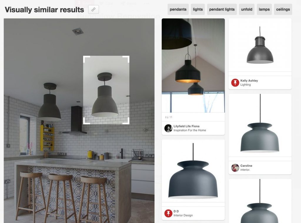 Pinterest visual search tool within images